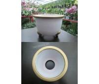 Терракотовый горшок для неофинетий белый/золото (13,0 х 9,0 внешний, 10,0 х 8,0 внутренний)