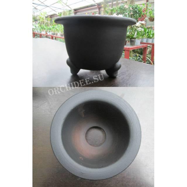 Терракотовый горшок для неофинетий черный (11,0 х 7,0 внешний, 8,5 х 6,0 внутренний)