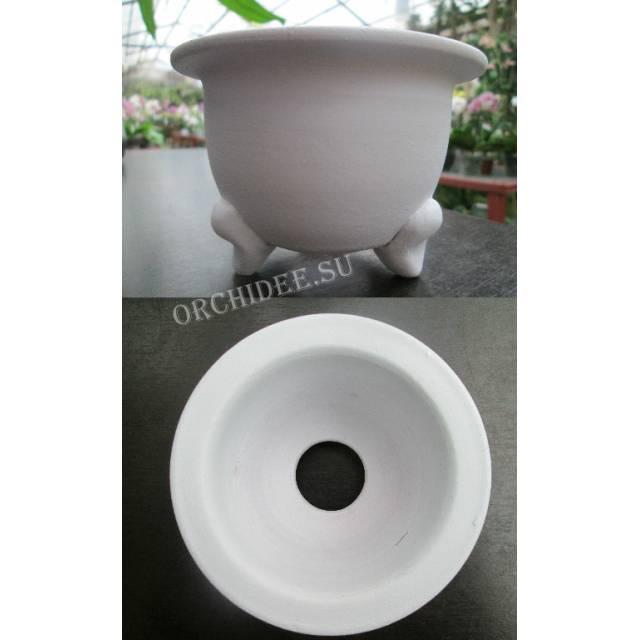 Терракотовый горшок для неофинетий белый (11,0 х 7,0 внешний, 8,5 х 6,0 внутренний)